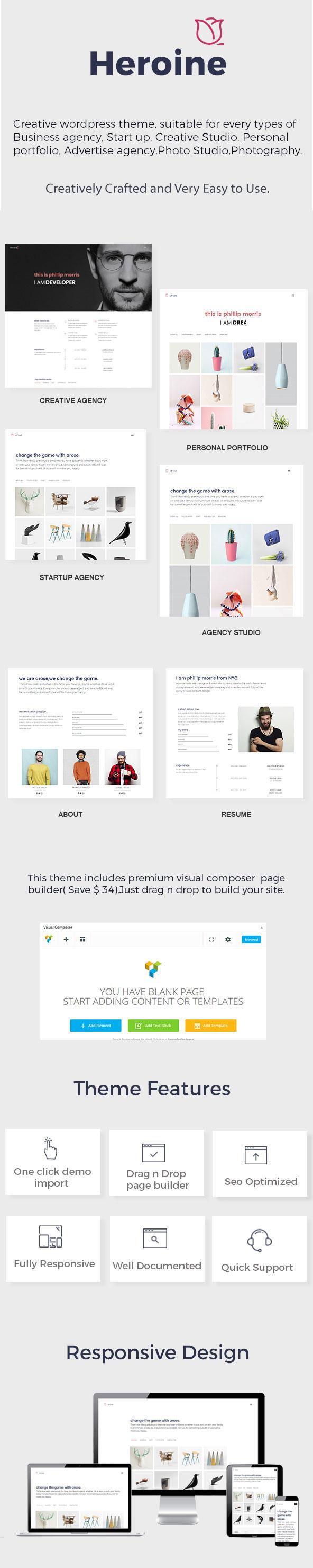 Heroine - Creative Minimal Portfolio WordPress Theme - 3